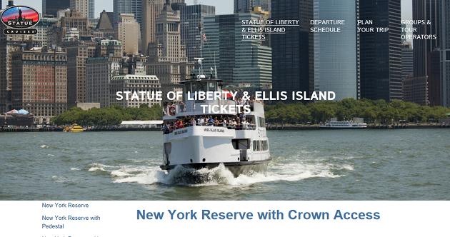 2016年版 自由の女神 Statue of liberty チケット予約 crown access