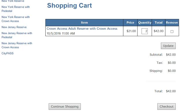 2016年版 自由の女神 Statue of liberty チケット予約 shopping cart