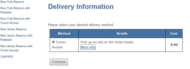 2016年版 自由の女神 Statue of liberty チケット予約 delivery information